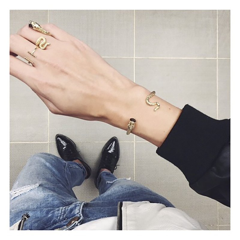 Snake Gold Ring and Bangle with Black CZ