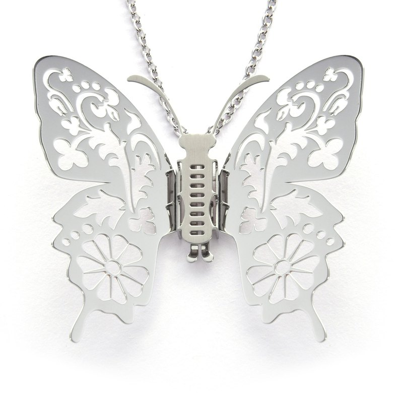 Interchangeable wings butterfly necklace flowers and plants impression (silver) medical grade stainless steel designed and manufactured in Taiwan
