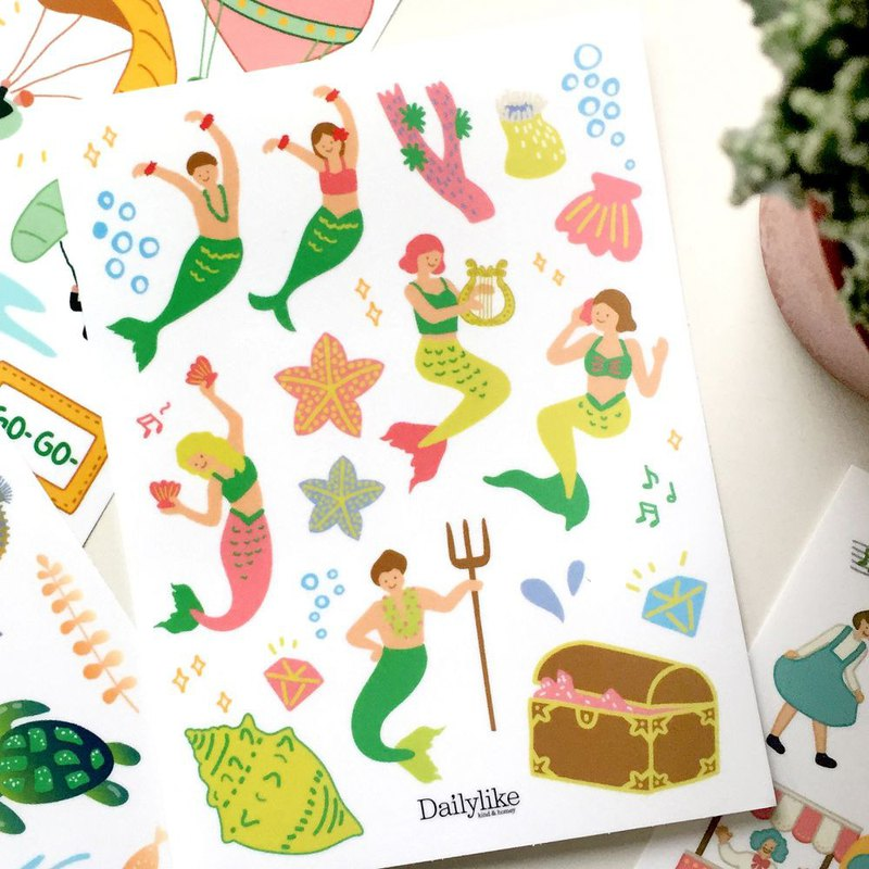 DIY self-scrapbook paper bag (4 in) -19 mermaid, E2D17378