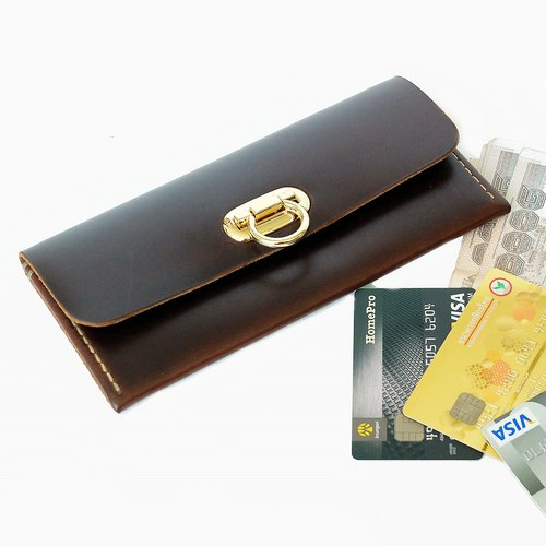 กระเป๋าหนังแท้ Minimal Wallet DarkBrown Color Hand-cut & Hand-sew process