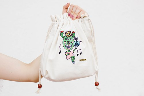 Illustration X Embroidered Cotton Canvas Messenger Bag - Happy Dance