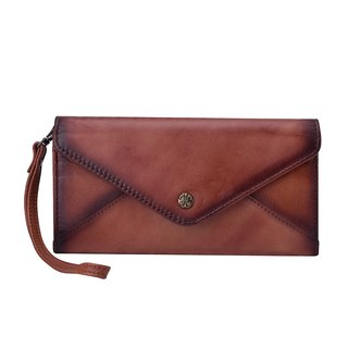 Handmade Genuine Leather Wallet Long with wrist strap - Brown