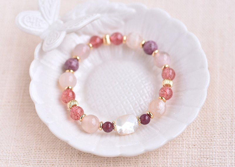 Cherry Blossom Agate + Lithium Mica + Strawberry Crystal + Pearl Shell Bracelet