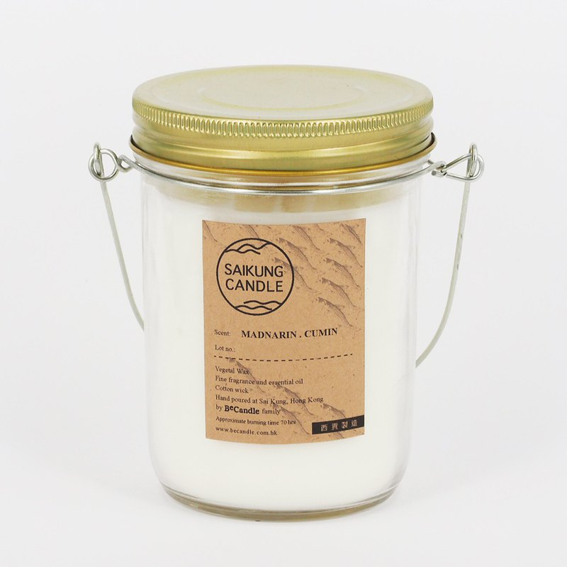 <SAIKUNG Candle> Natural Aromatherapy Candle - citrus fennel (MANDARIN CUMIN SCENTED.).