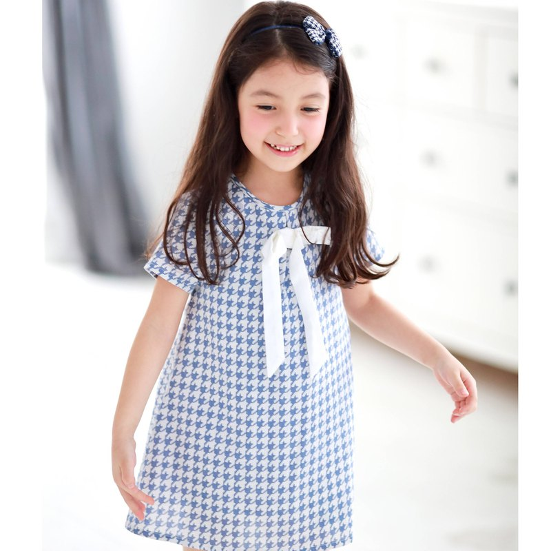 Houndstooth with cute bow dress (infant/toddler/girl)