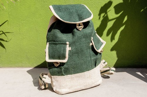 Graduation gift Valentine's Day gift Limited a natural dyed cotton and linen backpack / Shoulder Bag / National mountaineering bag / Travel backpack / Computer bag / Hand bag-Retro military bag green forest plant dyed green backpack