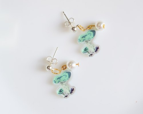 Mushroom Earrings - Jewelry - Mushroom Jewelry - Pearl Earrings