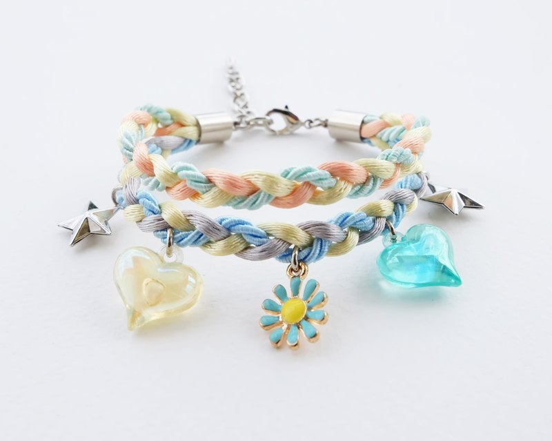 Blue daisy charm double layers braided bracelet