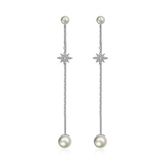 Star Shape Chain Diamond Earring With Pearl