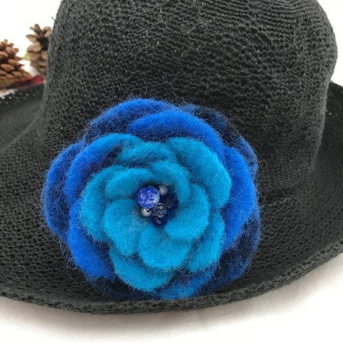 Blue wool felt flower brooch