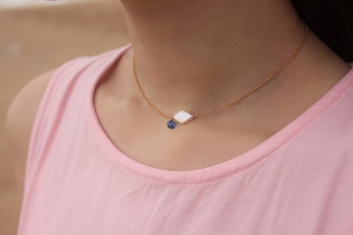 ◆hippie◆ Blue Soul│Pearl & Blue Zircon 14K GF Choker / Necklace