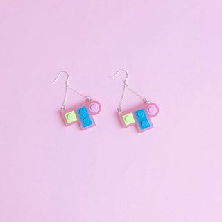 Sweet Dating Pink  Stitching Mini Blocks Earrings