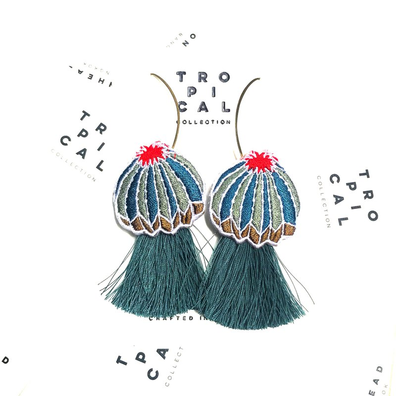 Cactus Dark Green tassel Earrings