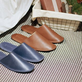 Waxy felt leather indoor slippers indigo