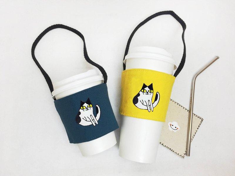 發呆母牛貓-帆布環保飲料提袋 -杯套提帶款