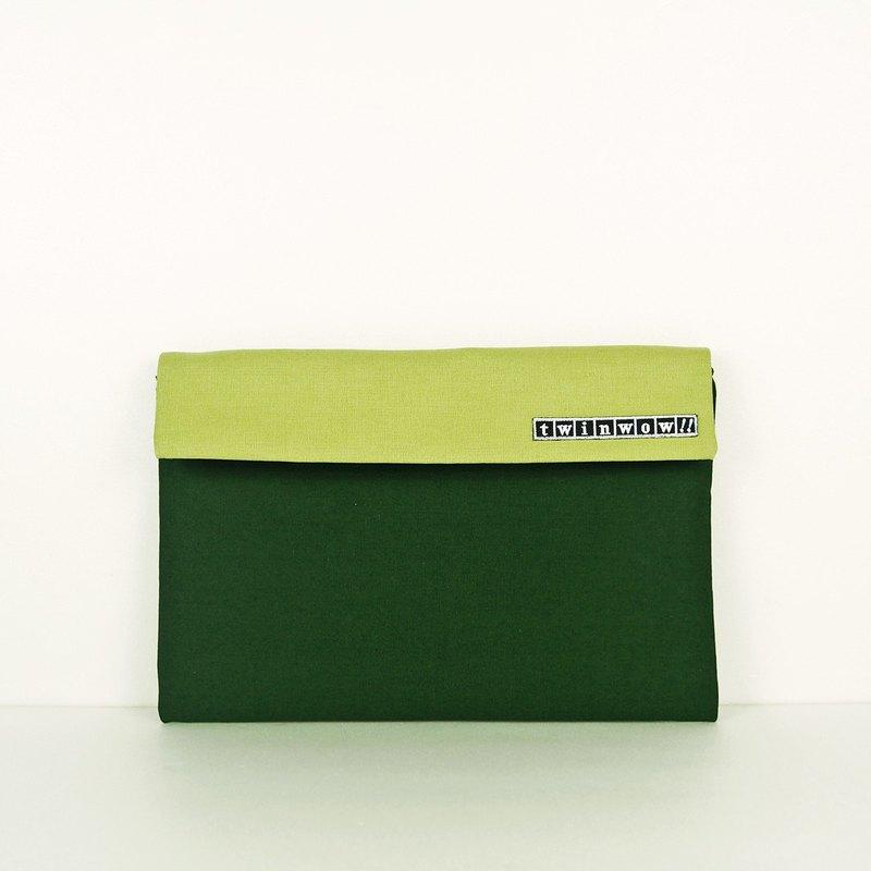 時尚筆記 - 細緻質感平板包 - 杉果綠