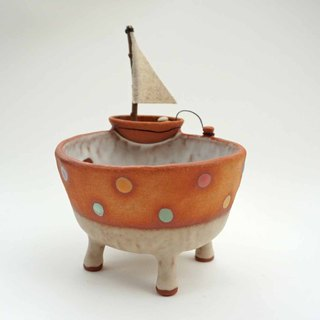 Bowl with a boat,cactus,ceramics,pottery,handmade