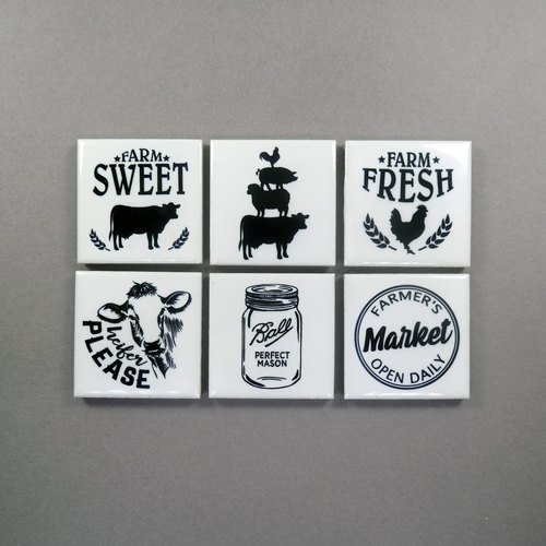 Retro Fridge Magnet Cute Refrigerator Magnets Farm House (Set of 6)