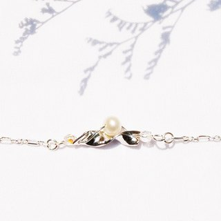 Natural series -Flowering -handmade silver bracelet with Pearl