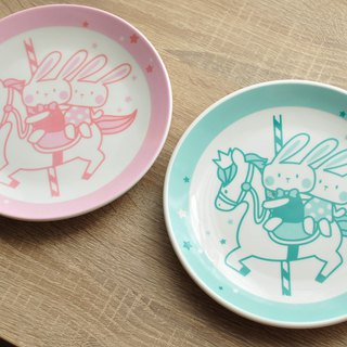 [SUMAIRU] carousel smile cake plate _ pink lake green on the plate group | period limited price