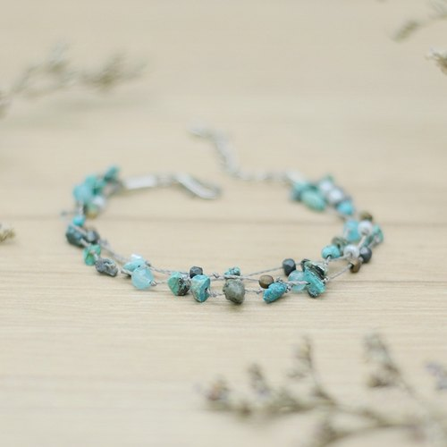 a handmade Real Turquoise stone and beads bracelet by niyome craft