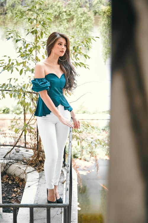 Off-The-Shoulder Peplum Top (Teal)