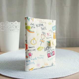 Lovely [Japanese cloth] departure! Travel zipper passport cover, cloth cover 10X14cm, beige N