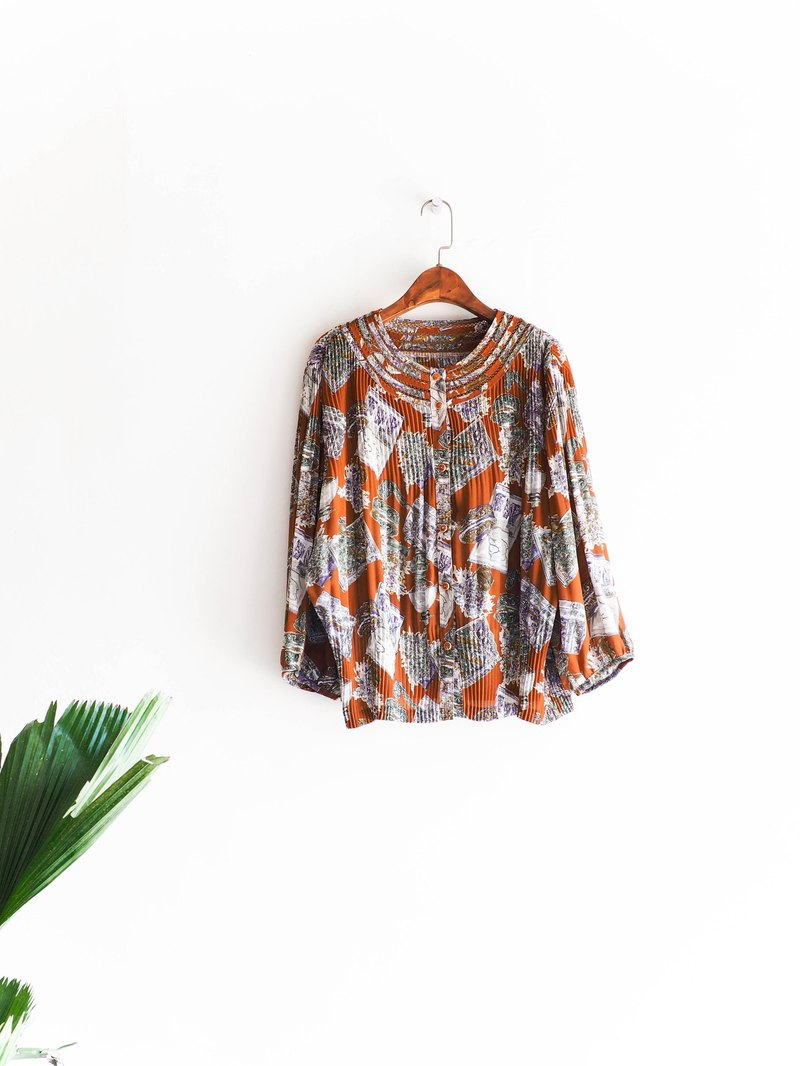 River Water Mountain - Kochi Cheng Orange Love Log Dream Antique Silk Shirt Tops Tops oversized vintage