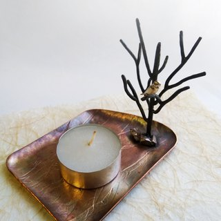 【daily. Handmade red copper small dish - tree and bird