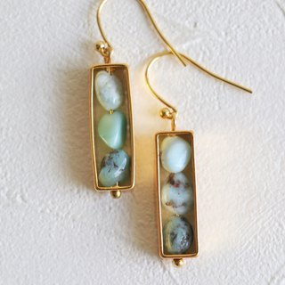 Larimar dangle earrings - 18k gold plated earrings - Geometric earrings