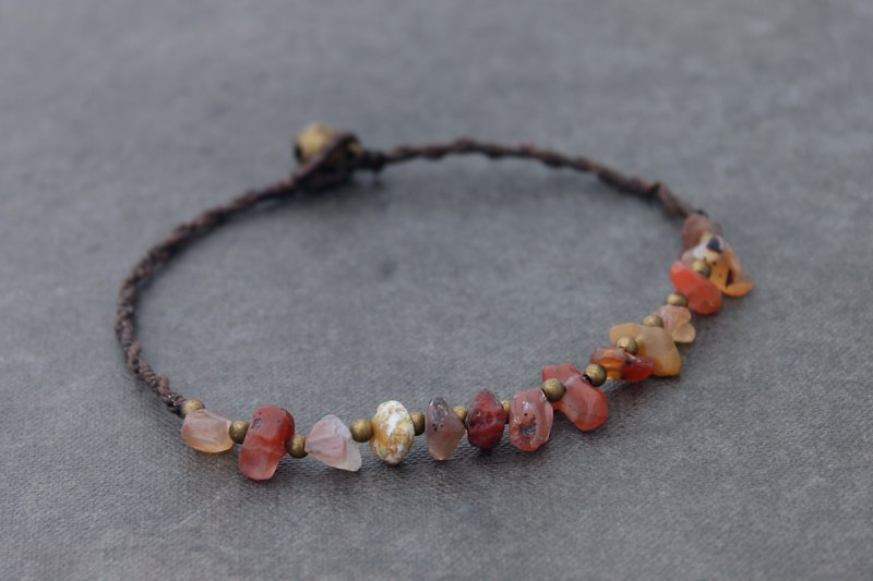 Stone Carnelian Woven Beaded Anklets Simple Minimal Raw Brass Orange Anklets