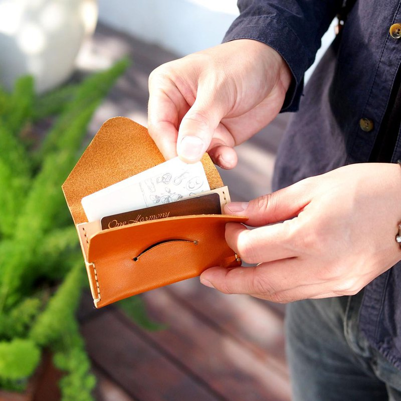 Japanese hand-stitched vegetable-tanned cowhide envelope business card / card holder Made in Japan by Teha'amana