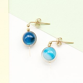 [Da Da Daily]Minimalisit blue stone gold earrings