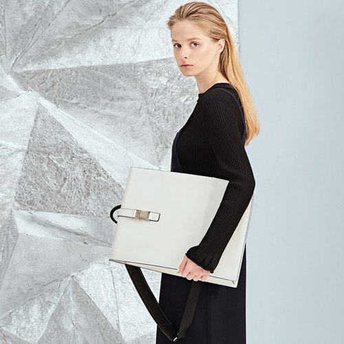 Independent design models DOUBLE-X building a sense of leather backpack after backpack computer bag - White