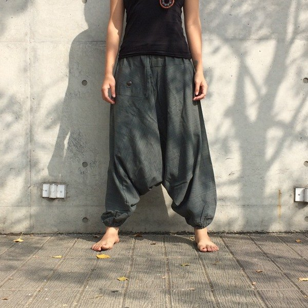 Travel Pants - Alibaba Pants (Indifferent Grey) (Single Pocket) (Striped Cotton)