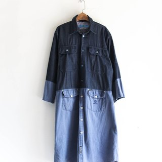 River Water Mountain - Wakayama Sea Blue Blue Mosaic Youth Log Antique Cotton Tops Top Coat Jacket Long Dresser dustcoat jacket coat oversize vintage