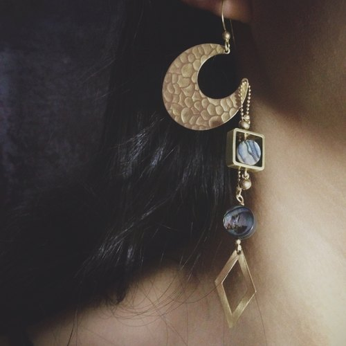 Subtle moment [Darkmoon] series earrings ear clip original design gift