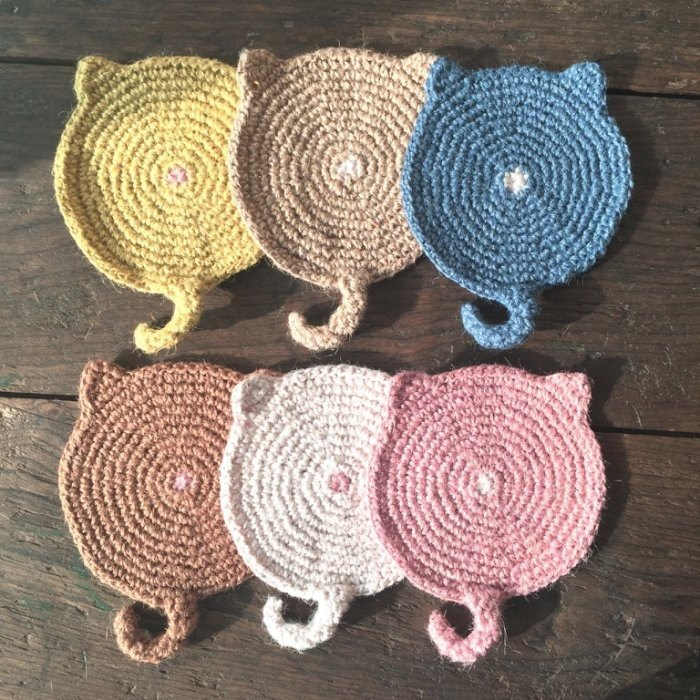 Retrieve the initial move back braid cat coasters (ten family groups - Contract) / flax weaving / handmade coasters handmade〗 〖crazy hopscotch