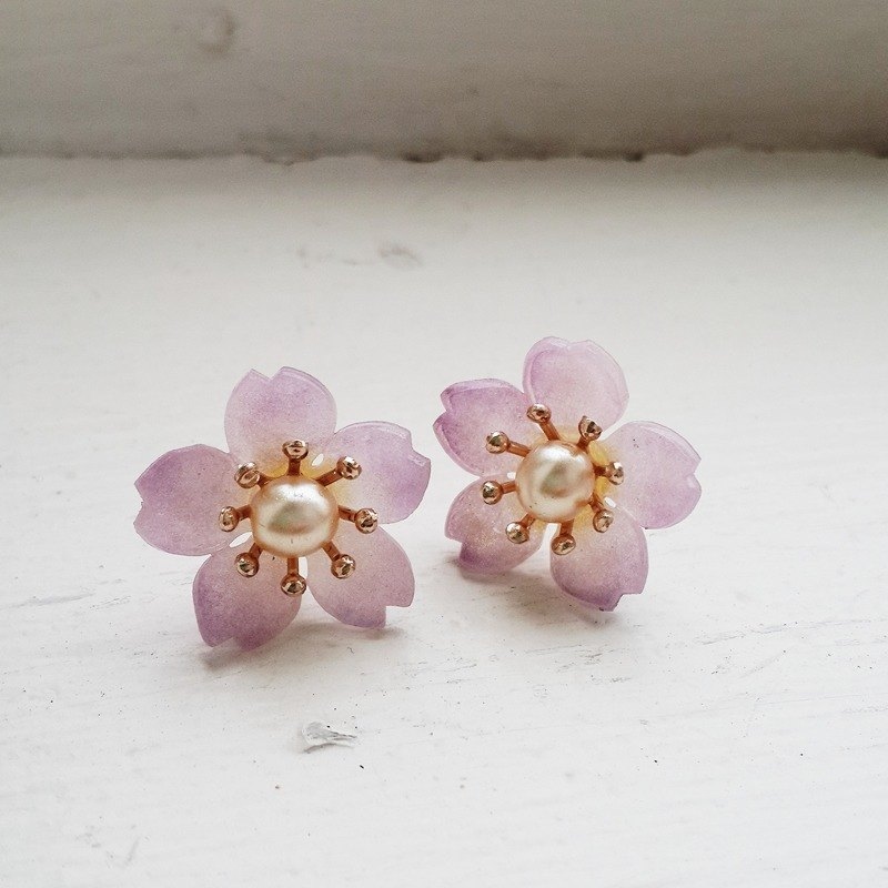Momolico purple cherry earrings can be clipped 15mm