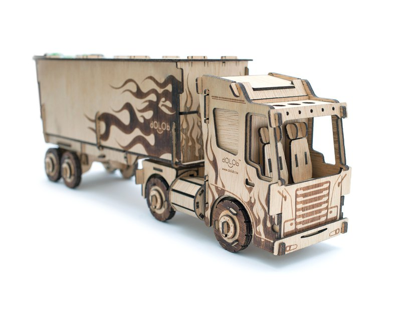 dOLOb-DIY Wooden-Connected Container Truck 2 Preferential Set-Gift Exchange