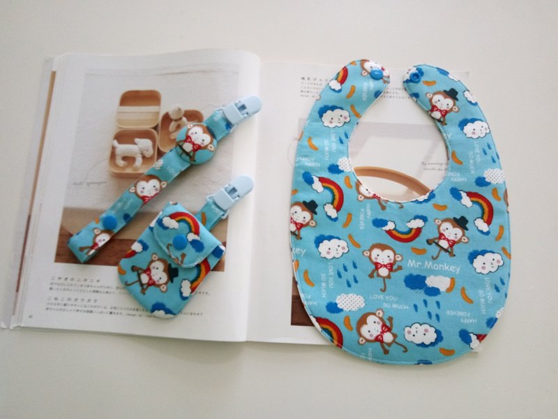 Mr. monkeys Miriam gift box peace bag + pacifier clip + bib