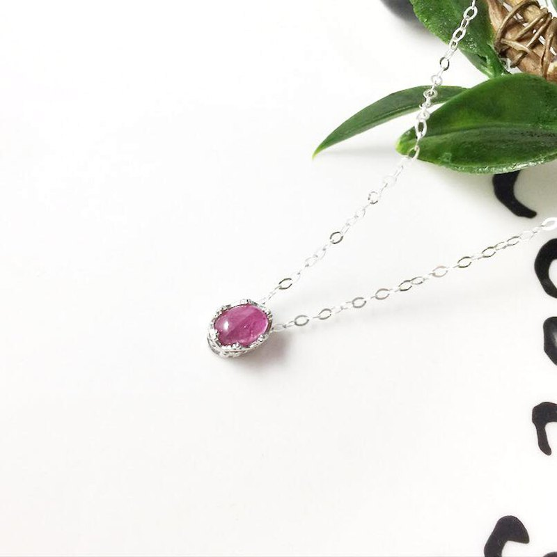 MH Sterling Silver Natural Stone Necklace _ Promised Crown _ Peach tourmaline