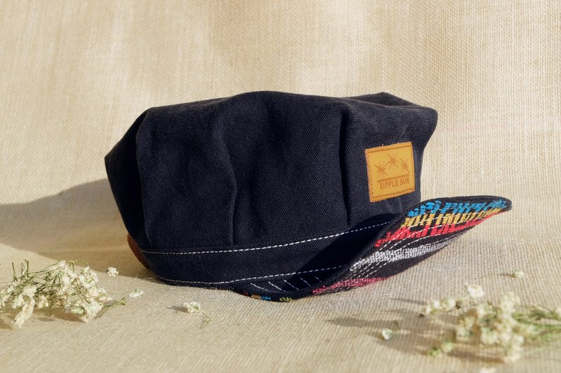 Tipple Sun News Boy Cap ( Black/Traditional Fabric)