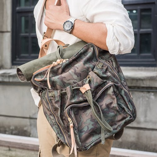 Waxed Canvas Camo Backpack / Urban Camouflage Backpack / Camouflage Green