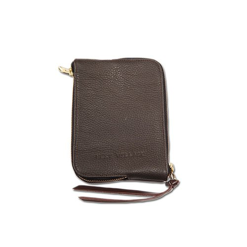 Double Sided Zipper Bag / Double Face / Natural Cowhide / Brown / S / Manual Limited