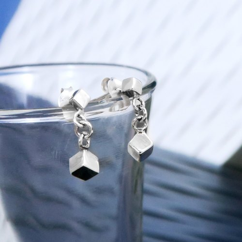 Earrings double cubic crystal hanging sterling silver earrings-64DESIGN