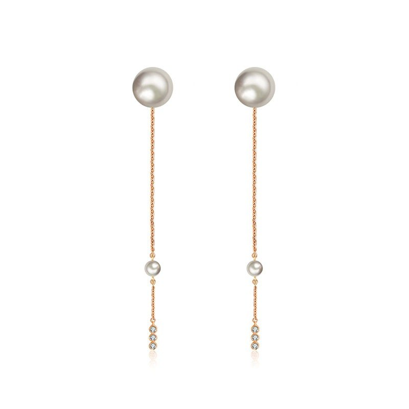 Chain Diamond Earring With Pearl