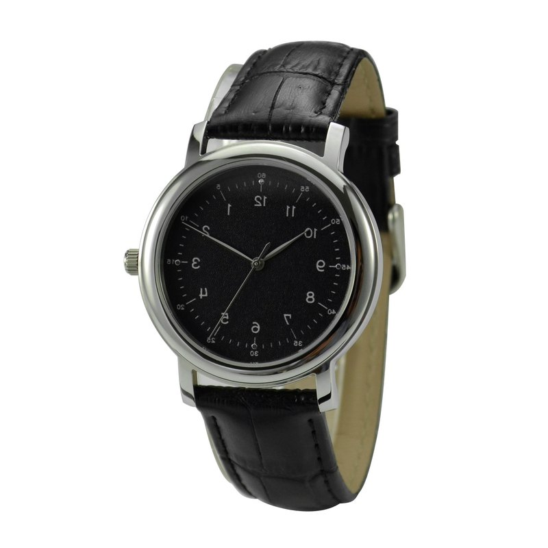 Backwards Numbers Watch Elegant Black Face - Unisex - Free shipping worldwide