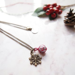 French hand-woven red copper wire with artificial pearl copper-colored snow pendant sub-necklace P043