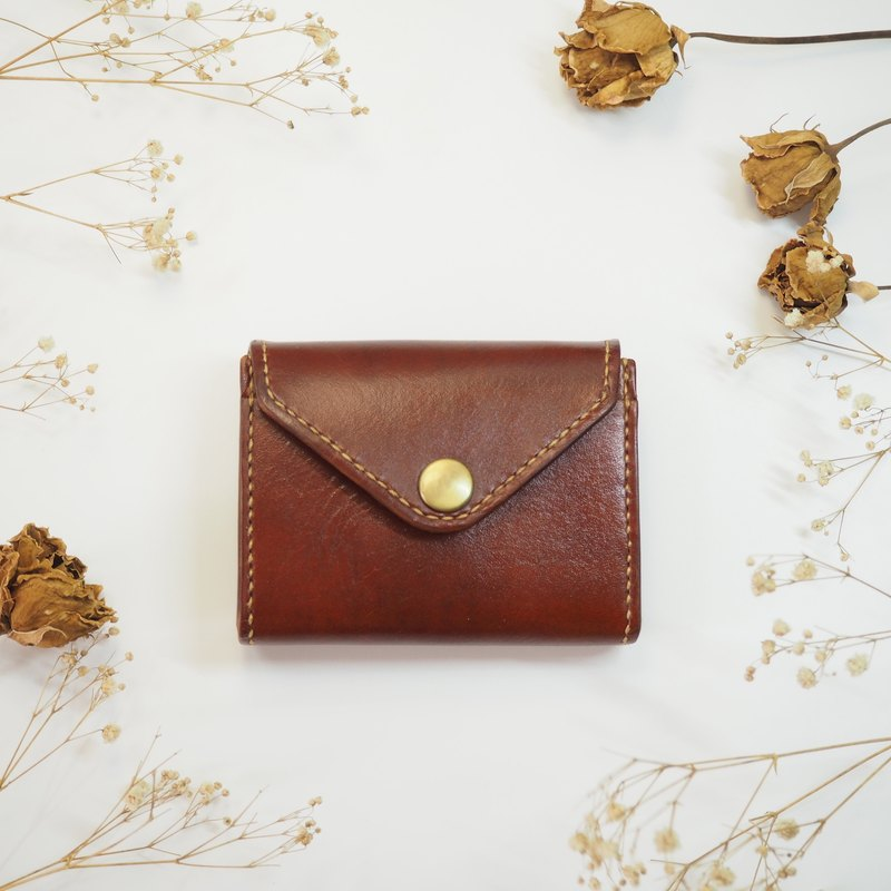Chubby handmade leather purse envelope shape brown